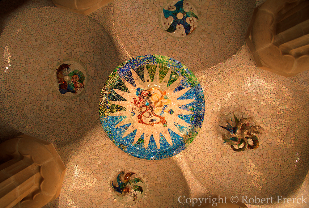 SPAIN, ANTONI GAUDI ARCHITECTURE Barcelona; Parc Guell; famous hillside park overlooking the city; detail of ceramic tiled ceiling panels