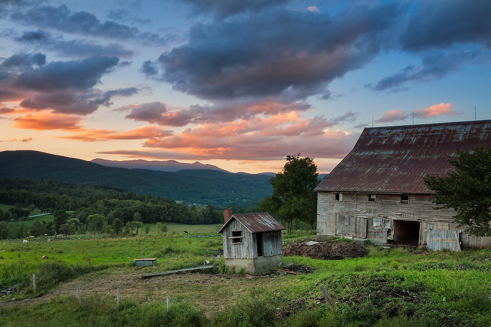 Sunset and old farm in Waitsfield, Vermont