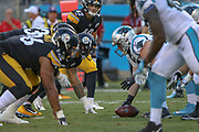 Pittsburgh Steelers and Carolina Panthers at the line of scrimmage during a NFL football game, Thursday, Aug. 29, 2019, in Charlotte, N.C. The Panthers defeated the Steelers 25-19.  (Brian Villanueva/Image of Sport)