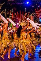 Hitireva dance group performing during the Heiva i Tahiti (July cultural festival), Place Toata, Papeete, Tahiti, French Polynesia.