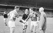 Kerry and Galway captains shake hands before the start of the All Ireland Senior Gaelic Football Final Kerry v. Galway in Croke Park on the 26th September 1965. Galway 0-12 Kerry 0-09.
