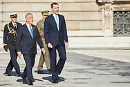 King Felipe VI of Spain, Marcelo Rebelo de Sousa, President of Portugal attended the Official Reception and Honors of Ordinance to President of Portugal during his 3 days State Visit at Palacio Real on April 16, 2018 in Madrid, Spain