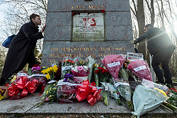 © Licensed to London News Pictures. 17/02/2019. London, UK. Visitors pay their respects at the Karl Marx monument in Highgate Cemetery after it was vandalised for the second time in a short period. Photo credit: Ray Tang/LNP