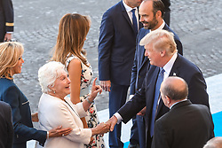 L-R : Brigitte Macron, Line Renaud, US First Lady Melania Trump, US President Donald Trump seen as they attend Bastille Day Military Parade, Place de la Concorde, in Paris on July 14, 2017. Photo by Ammar Abd Rabbo/ABACAPRESS.COM