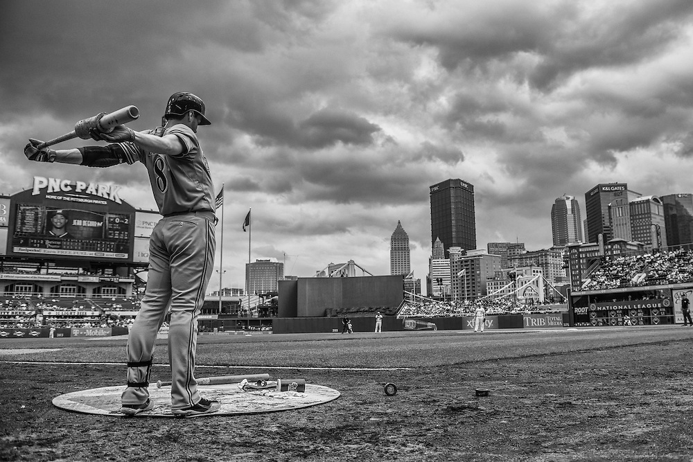 PITTSBURGH, PA - JUNE 08: (EDITORS NOTE: Image has been converted to black and white.) Ryan Braun #8 of the Milwaukee Brewers warms up during the game against the Pittsburgh Pirates at PNC Park on June 8, 2014 in Pittsburgh, Pennsylvania. (Photo by Rob Tringali) *** Local Caption *** Ryan Braun