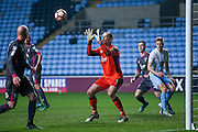 Morecambe  goalkeeper Barry Roche (1) claims the ball  during the The FA Cup match between Coventry City and Morecambe at the Ricoh Arena, Coventry, England on 15 November 2016. Photo by Simon Davies.
