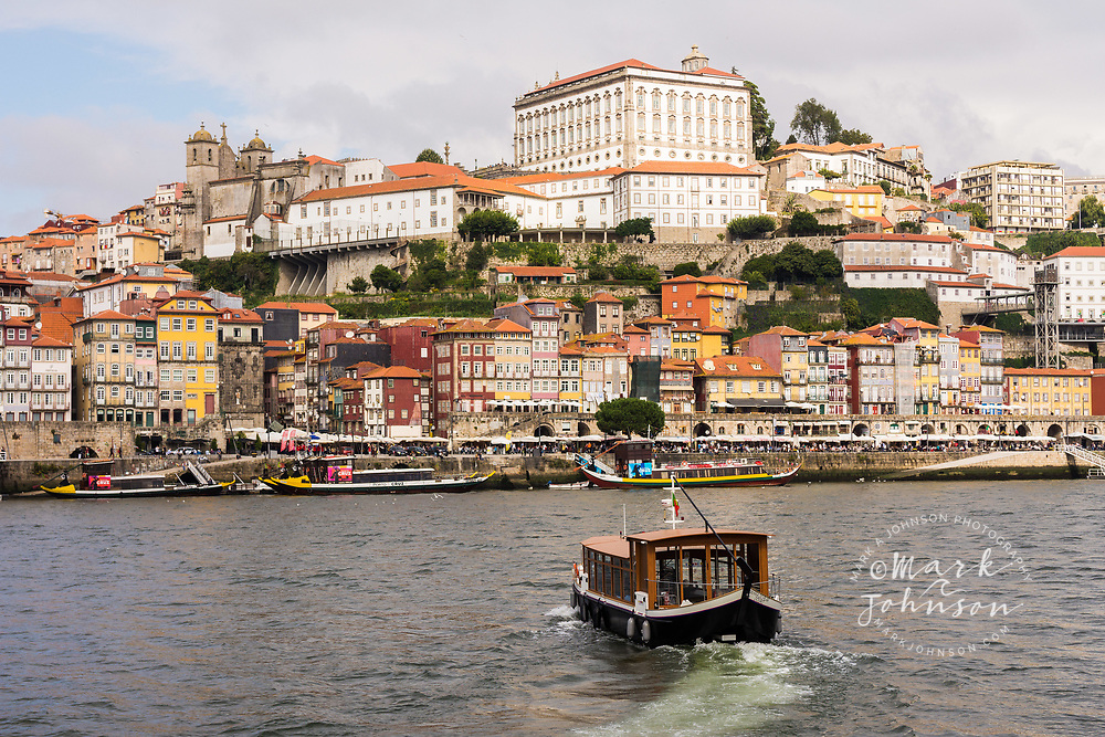 A water taxi crossing the Douro River to Old Oporto