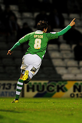 Yeovil Town's Edward Upson celebrates his goal - Photo mandatory by-line: Dougie Allward/JMP  - Tel: Mobile:07966 386802 04/12/2012 - SPORT - FOOTBALL - Johnstone's Paint Trophy  -  Yeovil  -  Huish Park  -  Yeovil Town V Wycombe Wanderers