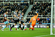 Ashley Barnes (#10) of Burnley fires the ball into the net beyond Karl Darlow (#26) of Newcastle United but is called for a push in the build up during the Premier League match between Newcastle United and Burnley at St. James's Park, Newcastle, England on 31 January 2018. Photo by Craig Doyle.