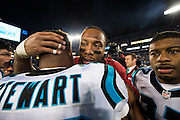 January 24, 2016: Carolina Panthers vs Arizona Cardinals. Jonathan Stewart and Larry Fitzgerald