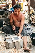 Making blackboards (chalkboards) Bilu Island. Shan State, Myanmar