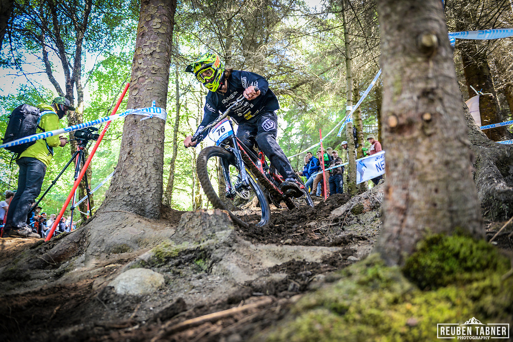 Jerome Caroli finding his way in through the woods during his qualifying round at the UCI Mountain Bike World Cup in Fort William, Scotland.