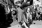 Tango dancers perform on the street in San Telmo, Buenos Aires.