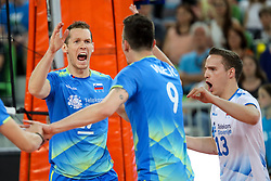 Tine Urnaut of Slovenia celebrates during volleyball match between National teams of Slovenia and Belgium in 2nd Round of 2018 FIVB Volleyball Men's World Championship qualification, on May 28, 2017 in Arena Stozice, Ljubljana, Slovenia. Photo by Morgan Kristan / Sportida