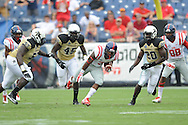 Ole Miss Rebels running back Mark Dodson (7) vs. Vanderbilt Commodores linebacker Stephen Weatherly (45) and Vanderbilt Commodores defensive lineman Vince Taylor (53) and Vanderbilt Commodores defensive back Oren Burks (20) at L.P. Field in Nashville, Tenn. on Saturday, September 6, 2014. Ole Miss won 41-3.