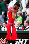 SHOT 1/28/12 5:04:24 PM - San Diego State's Xavier Thames #2 leaves the court after a loss to Colorado State during their regular season Mountain West conference game at Moby Arena in Fort Collins, Co. Colorado State upset 12th ranked San Diego State 77-60. (Photo by Marc Piscotty / © 2012)
