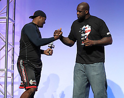 "August 27, 2010; Boston, MA; USA; Glen ""Big Baby"" Davis (l) and Shaquille O'Neal shake hands at the UFC 118 Fan Fest in Boston, MA."