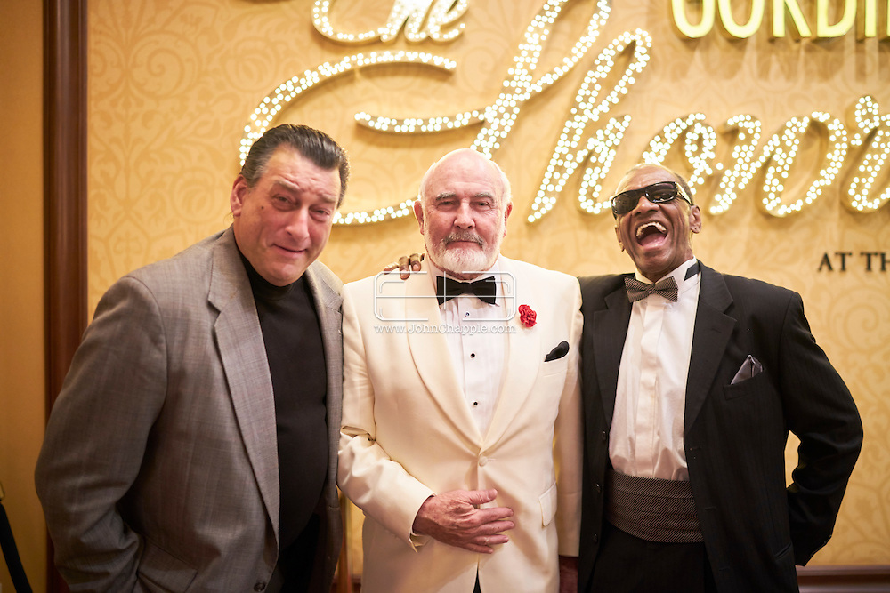February 22, 2016. Las Vegas, Nevada.  The 22nd Reel Awards and Tribute Artist Convention in Las Vegas. Celebrity lookalikes from all over the world gathered at the Golden Nugget Hotel for the annual event. Pictured is  Robert De Niro lookalike, Robert Nash with Sean Connery lookalike, Dennis B. Keogh and Ray Charles lookalike, Johnnie Smoot.<br /> Copyright John Chapple / www.JohnChapple.com /