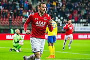 ALKMAAR - 27-01-2016, AZ - Cambuur, AFAS Stadion, AZ speler Vincent Janssen juicht nadat hij de 1-0 heeft gescoord. 3-1.