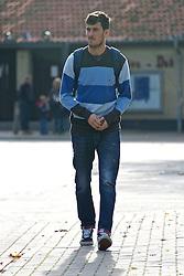 27.10.2014, Trainingscenter, Bremen, GER, 1. FBL, SV Werder Bremen, Training, im Bild Santiago Garcia (SV Werder Bremen #2) auf dem Weg vom Parkplatz zur Kabine // during a Trainingssession of German Bundesliga Club SV Werder Bremen at the Trainingscenter in Bremen, Germany on 2014/10/27. EXPA Pictures © 2014, PhotoCredit: EXPA/ Andreas Gumz<br /> <br /> *****ATTENTION - OUT of GER*****