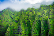 Lush canyon walls in Honopu Valley on the Na Pali Coast (aerial), Napali Coast Wilderness State Park, Kauai, Hawaii USA