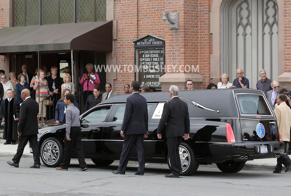 Middletown, New York - The funeral procession for Willie Carter arrives at St. Paul's Methodist Church on West Main Street on Sept. 19, 2010.