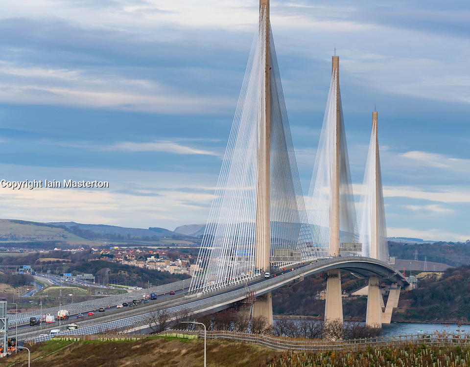 View of Queensferry Crossing bridge with southbound carriageway closed to allow road repairs. At South Queensferry in Scotland, United Kingdom