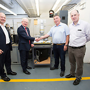 13.06.2018.            <br /> Up to 1,000 delegates visited Ireland's largest manufacturing supply chain conference and trade exhibition - Manufacturing Solutions Ireland 2018 - at Limerick Institute of Technology (LIT) in the course of today (Wednesday, June 13). <br /> <br /> Pictured at he event were, Richard Keegan, Enterprise Ireland, Prof. Vincent Cunnane, President LIT, Gerry Reynolds, Takumi Precision Rahen Limerick and Ciaran O'Loughlin, Precision Engineering LIT.<br /> <br /> In its second year, the conference and engineering trade show, hosted by the UK tool technologies trade association - the GTMA in conjunction with LIT, exceeded last year's attendance thereby helping to generate in excess of a quarter of a million euro for the local economy. The Manufacturing Solutions event was supported by the Syndicat du Décolletage Congress also held in Limerick. Picture: Alan Place