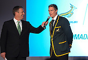 CAPE TOWN, SOUTH AFRICA - Thursday 24 April 2014, Jean De Villiers, springbok captain, chats to Mathew Pearce during the Asics launch of the new Springbok rugby jersey at The Lookout in the V&amp;A Waterfront<br /> Photo by Roger Sedres/ImageSA