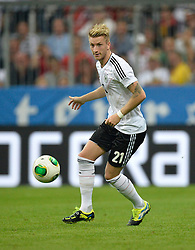 06.09.2013, Allianz Arena, Muenchen, GER, FIFA WM Qualifikation, Deutschland vs Oesterreich, Rueckspiel, im Bild Marco Reus (GER) am Ball Freisteller, Einzelbild, Aktion, , , Qualifikation Weltmeisterschaft Brasilien 2014 Rueckspiel , Saison 2013 2014 Muenchen Allianz-Arena, 06.09.2013 // during the FIFA World Cup Qualifier second leg Match between Germany and Austria at the Allianz Arena, Munich, Germany on 2013/09/06. EXPA Pictures © 2013, PhotoCredit: EXPA/ Eibner/ Michael Weber<br /> <br /> ***** ATTENTION - OUT OF GER *****