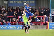 AFC Wimbledon striker Tyrone Barnett (23) winning a header during the EFL Sky Bet League 1 match between AFC Wimbledon and Peterborough United at the Cherry Red Records Stadium, Kingston, England on 17 April 2017. Photo by Matthew Redman.