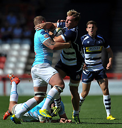 Mitch Eadie of Bristol Rugby takes on the Bedford Blues defence - Photo mandatory by-line: Patrick Khachfe/JMP - Mobile: 07966 386802 06/09/2015 - SPORT - RUGBY UNION - Bristol - Ashton Gate - Bristol Rugby v Bedford Blues - Greene King IPA Championship