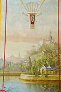 Chinesisches Teehaus im Schlosspark Pillnitz, Detail Wandmalerei, Dresden, Sachsen, Deutschland.|.Pillnitz Castle Gardens, Chinese Tea house, detail of wall painting, Dresden, Germany