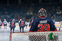 KELOWNA, CANADA - JANUARY 27: Connor Ingram #39 of the Kamloops Blazers stands in net at the start of the game against the Kelowna Rockets on January 27, 2017 at Prospera Place in Kelowna, British Columbia, Canada.  (Photo by Marissa Baecker/Shoot the Breeze)  *** Local Caption ***