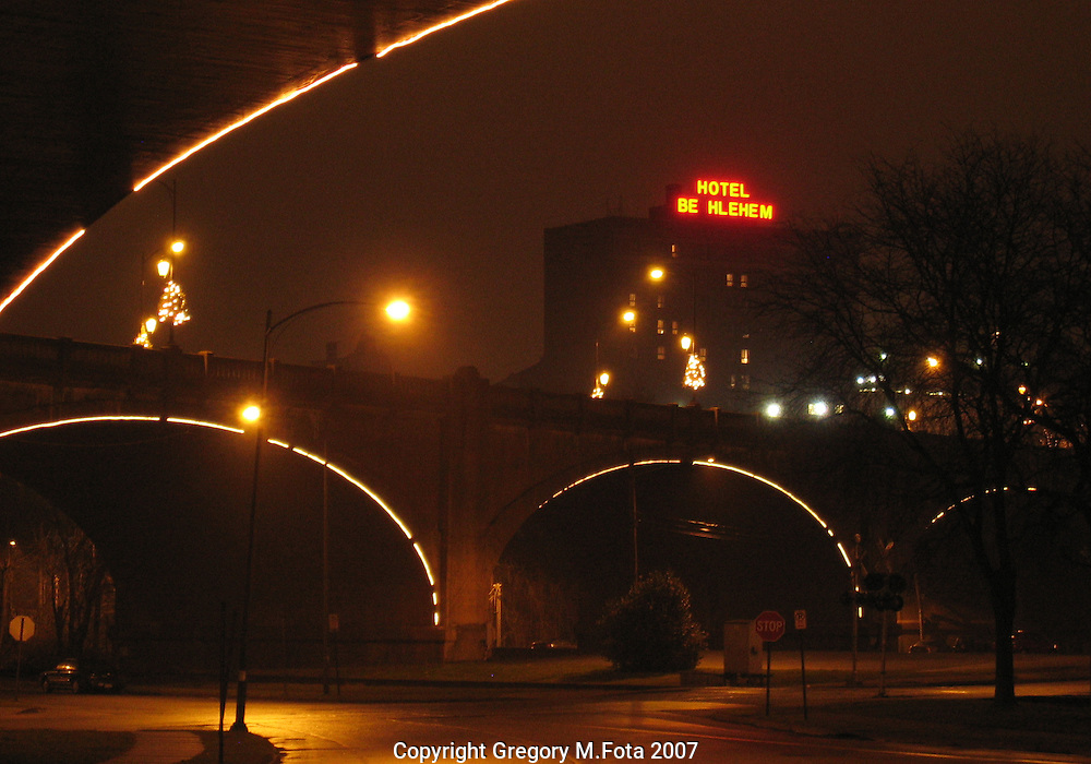 Hotel Be_hlehem Red---View from under the Hill To Hill Bridge on a misty night,Bethlehem,PA. 01/05/2007