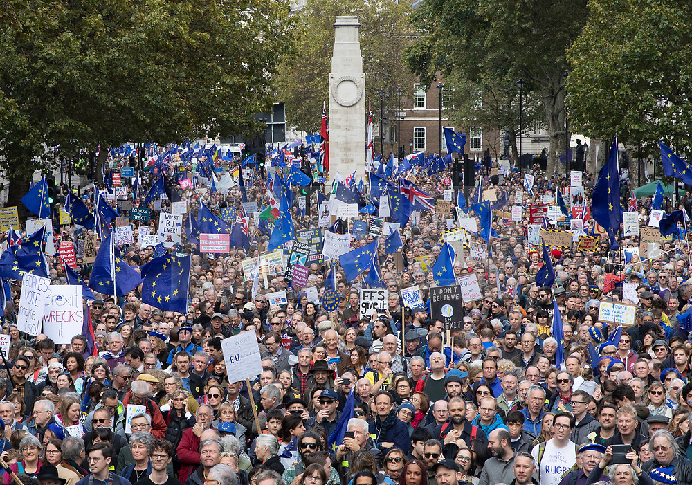 © Licensed to London News Pictures. 19/10/2019. London, UK. The People's Vote March fills Whitehall in central London. The Prime Minister's new Brexit deal is being debated and voted on in an historic Saturday sitting in The House of commons today. Photo credit: Peter Macdiarmid/LNP