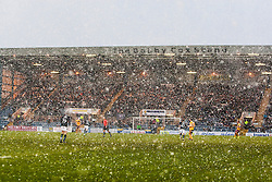 First half snow. Dundee 4 v 1 Motherwell, SPFL Premiership played 10/1/2015 at Dundee's home ground Dens Park.