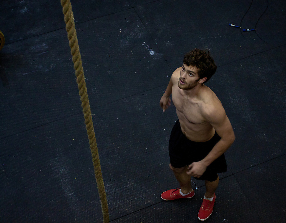 Nick about to start a rope climb at Progressive Fitness CrossFit. Crossfit image, picture, photo, photography of health, elite, exercise, training, workouts, WODs, taken at Progressive Fitness CrossFit,Colorado Springs, Colorado, USA