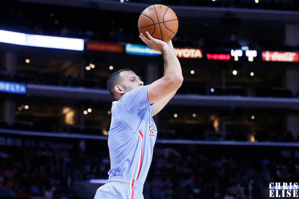 02 November 2014: Los Angeles Clippers guard Jordan Farmar (1) takes a jump shot during the Sacramento Kings 98-92 victory over the Los Angeles Clippers, at the Staples Center, Los Angeles, California, USA.