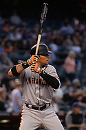 PHOENIX, AZ - APRIL 06:  Gorkys Hernandez #66 of the San Francisco Giants stands at bat against the Arizona Diamondbacks in the first inning at Chase Field on April 6, 2017 in Phoenix, Arizona. The Arizona Diamondbacks won 9-3.  (Photo by Jennifer Stewart/Getty Images)