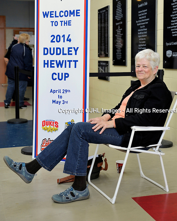 WELLINGTON, ON - May 3 : Dudley Hewitt Cup, Central Canadian Jr &quot;A&quot; Championship Game. Wellington Dukes vs. Toronto Lakeshore Patriots. Wellington Dukes fan Rosemary Moore arrives 2 hours prior to the box office opening to get a ticket to the championship game.<br /> (Photo by Shawn Muir / OJHL Images)