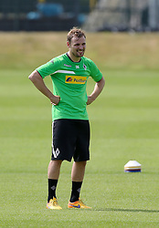 29.06.2015, Trainingsanlage Borussia Moenchengladbach, Moenchengladbach, GER, 1. FBL, Borussia Moenchengladbach, Trainingsauftakt, im Bild Tony Jantschke (Moenchengladbach) lacht // during a traning session of German 1st Bundeliga Club Borussia Moenchengladbach at the Trainingsanlage Borussia Moenchengladbach in Moenchengladbach, Germany on 2015/06/29. EXPA Pictures &copy; 2015, PhotoCredit: EXPA/ Eibner-Pressefoto/ Hommes<br /> <br /> *****ATTENTION - OUT of GER*****