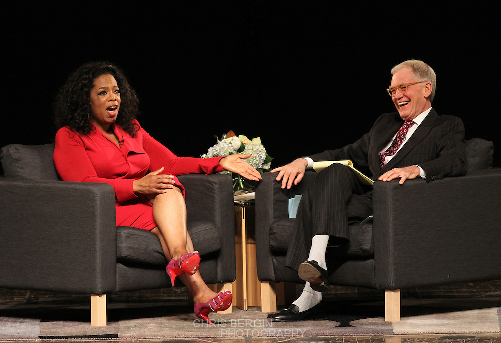 "Ball State alumnus David Letterman, host of CBS's ""Late Show,"" hosts a conversation with media icon and philanthropist Oprah Winfrey at Ball State University in Muncie, Indiana November 26, 2012.  The conversation is part of the  David Letterman Distinguished Professional Lecture and Workshop Series, established in 2008."