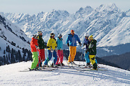 Lifestyle. A group of friends skiing in Kuhtai, Austria