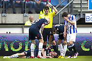 Onderwerp/Subject: SC Heerenveen - Willem II - Eredivisie<br /> Reklame:  <br /> Club/Team/Country: <br /> Seizoen/Season: 2012/2013<br /> FOTO/PHOTO: Simon VAN ZEELST (ON GROUND) of Willem II injured and Referee Jochem KAMPHUIS and Sven KUMS (R) of SC Heerenveen and Danny GUIJT (L) of Willem II and Ricardo IPPEL (R) of Willem II. (Photo by PICS UNITED)<br /> <br /> Trefwoorden/Keywords: <br /> #03 #06 $94 ±1355241558607 ±1355241558607<br /> Photo- & Copyrights © PICS UNITED <br /> P.O. Box 7164 - 5605 BE  EINDHOVEN (THE NETHERLANDS) <br /> Phone +31 (0)40 296 28 00 <br /> Fax +31 (0) 40 248 47 43 <br /> http://www.pics-united.com <br /> e-mail : sales@pics-united.com (If you would like to raise any issues regarding any aspects of products / service of PICS UNITED) or <br /> e-mail : sales@pics-united.com   <br /> <br /> ATTENTIE: <br /> Publicatie ook bij aanbieding door derden is slechts toegestaan na verkregen toestemming van Pics United. <br /> VOLLEDIGE NAAMSVERMELDING IS VERPLICHT! (© PICS UNITED/Naam Fotograaf, zie veld 4 van de bestandsinfo 'credits') <br /> ATTENTION:  <br /> © Pics United. Reproduction/publication of this photo by any parties is only permitted after authorisation is sought and obtained from  PICS UNITED- THE NETHERLANDS