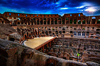 """The Cross of the Colosseum illuminated in the evening""...<br />