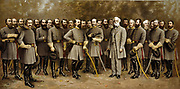 Group portrait of General Robert E. Lee (1807-1870) with his generals in the  American Civil War (1861-1865).  Lee, a career officer in the United States Army, fought on the Confederate (Southern) side in the Civil War. c1907.