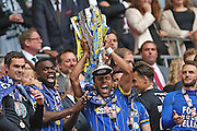 Andy Barcham lifting the trophy following the Sky Bet League 2 play off final match between AFC Wimbledon and Plymouth Argyle at Wembley Stadium, London, England on 30 May 2016.
