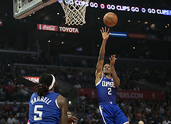 October 21, 2018 - Los Angeles, California, U.S - Shai Gilgeous-Alexander #2 of the Los Angeles Clippers takes a shot during their NBA game with the Houston Rockets on Sunday October 21, 2018 at the Staples Center in Los Angeles, California. (Credit Image: © Prensa Internacional via ZUMA Wire)