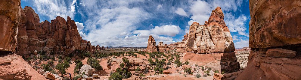 Chesler Park, in Needles District of Canyonlands NP, Monticello, Utah, USA. This image was stitched from multiple overlapping photos.